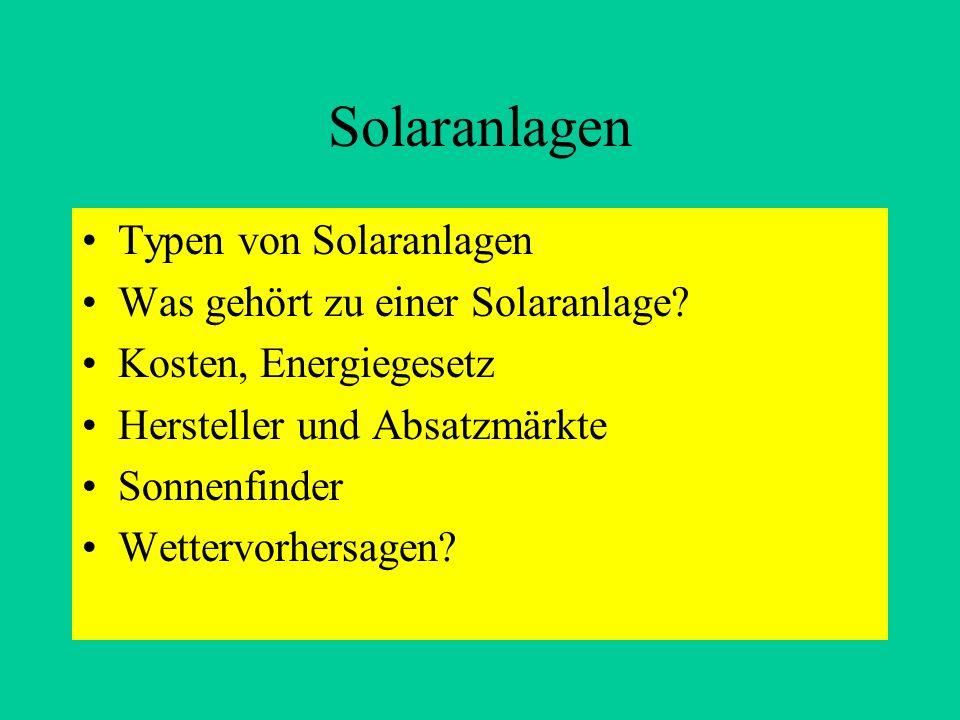 Solaranlagen Typen von Solaranlagen Was gehört zu einer Solaranlage? Kosten, Energiegesetz Hersteller und Absatzmärkte Sonnenfinder Wettervorhersagen?