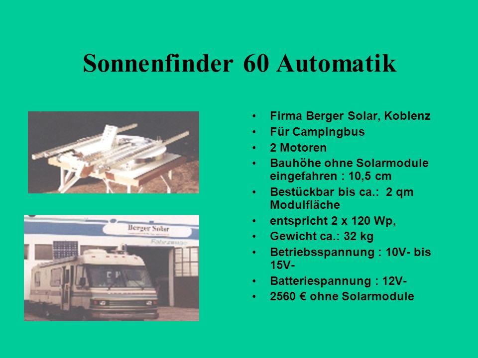 Sonnenfinder 60 Automatik Firma Berger Solar, Koblenz Für Campingbus 2 Motoren Bauhöhe ohne Solarmodule eingefahren : 10,5 cm Bestückbar bis ca.: 2 qm