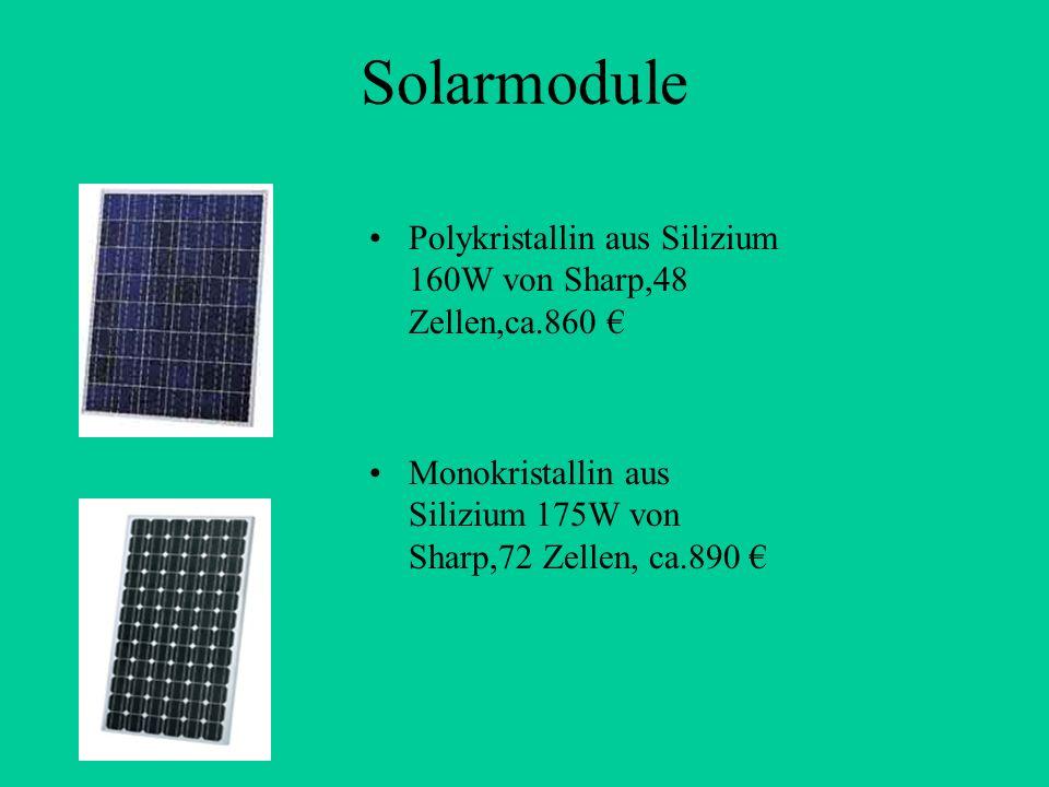 Solarmodule Polykristallin aus Silizium 160W von Sharp,48 Zellen,ca.860 Monokristallin aus Silizium 175W von Sharp,72 Zellen, ca.890