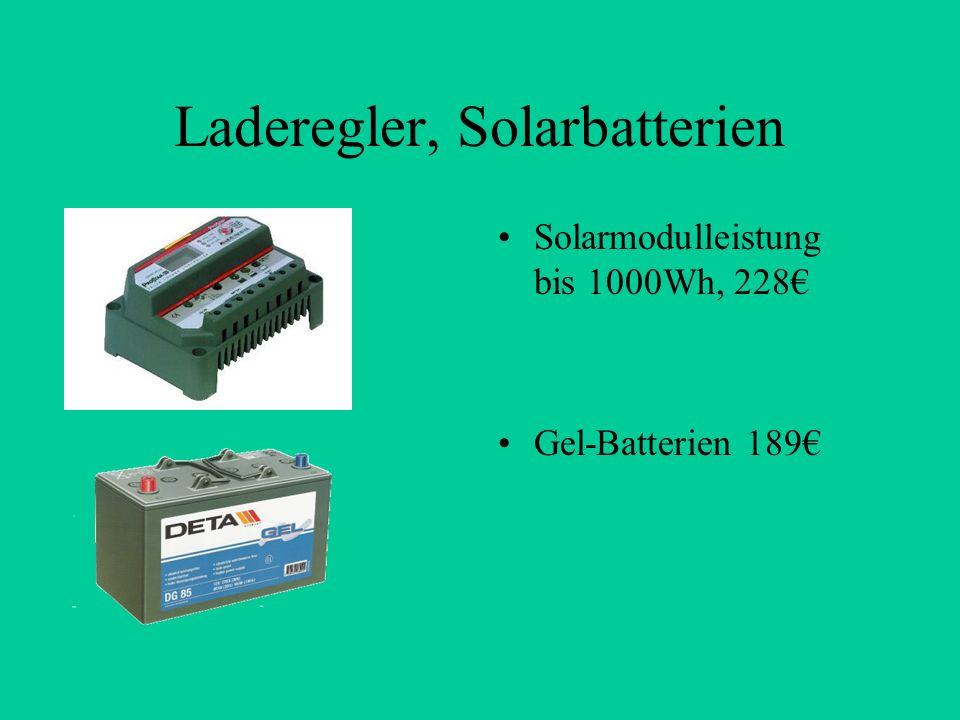 Laderegler, Solarbatterien Solarmodulleistung bis 1000Wh, 228 Gel-Batterien 189