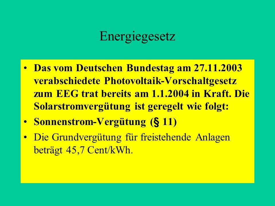 Energiegesetz Das vom Deutschen Bundestag am 27.11.2003 verabschiedete Photovoltaik-Vorschaltgesetz zum EEG trat bereits am 1.1.2004 in Kraft. Die Sol