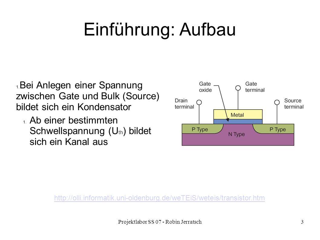 Projektlabor SS 07 - Robin Jerratsch3 Einführung: Aufbau 1. Bei Anlegen einer Spannung zwischen Gate und Bulk (Source) bildet sich ein Kondensator 1.