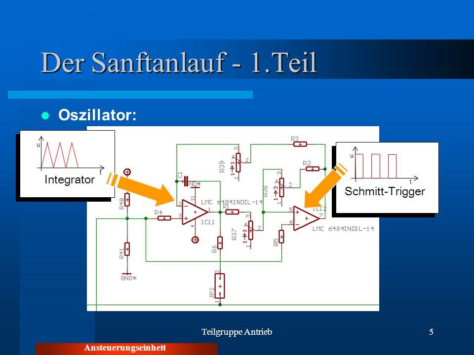 Teilgruppe Antrieb5 Der Sanftanlauf - 1.Teil Oszillator: Ansteuerungseinheit u t Schmitt-Trigger t Integrator u