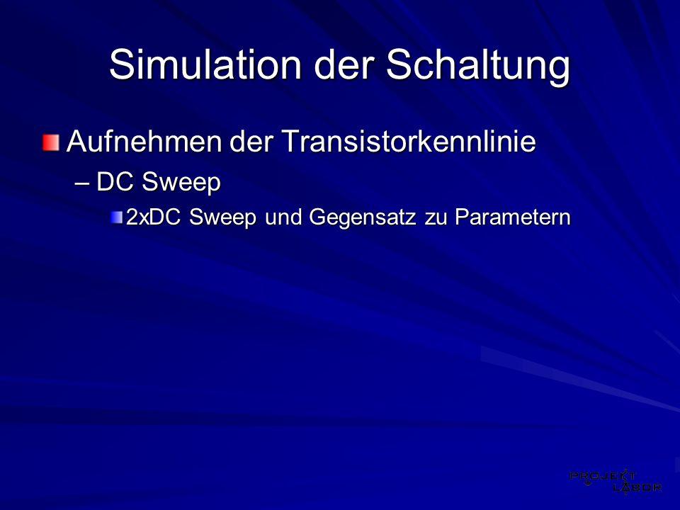 Simulation der Schaltung Aufnehmen der Transistorkennlinie –DC Sweep 2xDC Sweep und Gegensatz zu Parametern