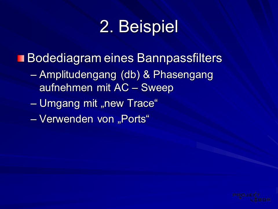 2. Beispiel Bodediagram eines Bannpassfilters –Amplitudengang (db) & Phasengang aufnehmen mit AC – Sweep –Umgang mit new Trace –Verwenden von Ports