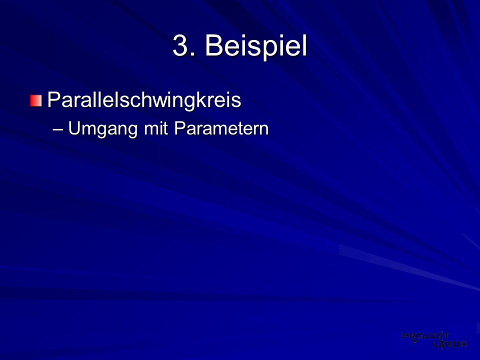 3. Beispiel Parallelschwingkreis –Umgang mit Parametern