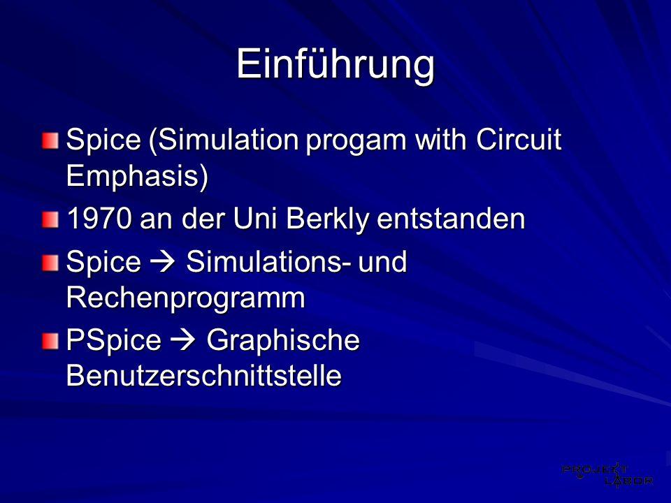 Einführung Spice (Simulation progam with Circuit Emphasis) 1970 an der Uni Berkly entstanden Spice Simulations- und Rechenprogramm PSpice Graphische B