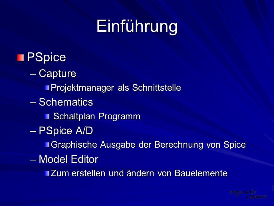 Einführung PSpice –Capture Projektmanager als Schnittstelle –Schematics Schaltplan Programm Schaltplan Programm –PSpice A/D Graphische Ausgabe der Ber