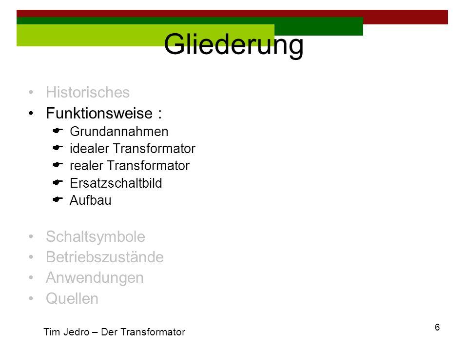 27 Gliederung Einführung Funktionsweise Betriebszustände Anwendungen Quellen Tim Jedro – Der Transformator