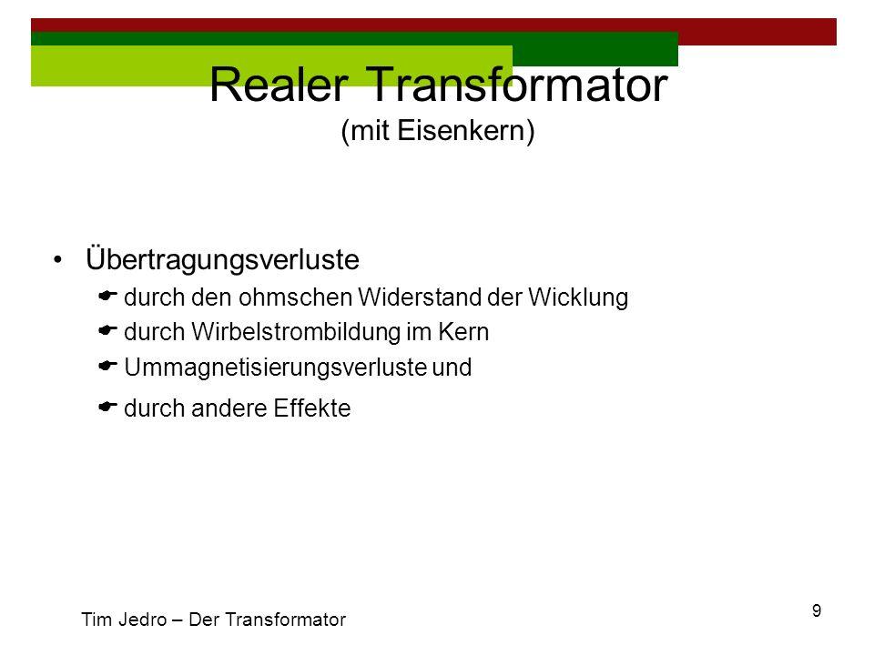 10 R Fe R Fe berücksichtigt die Hysterese- und Wirbelstromverluste (R Fe Tim Jedro – Der Transformator