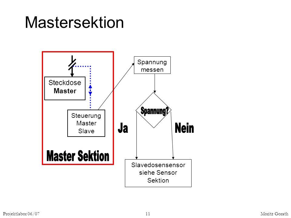 Projektlabor 06/0711Moritz Gorath Steckdose Master Steuerung Master Slave Spannung messen Slavedosensensor siehe Sensor Sektion Mastersektion