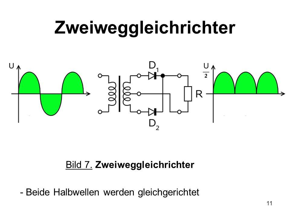 12 Brückengleichrichter - Durch die Anordnung der Dioden wird der Verbraucher immer in einer Richtung von Strom durchflossen Bild 8.