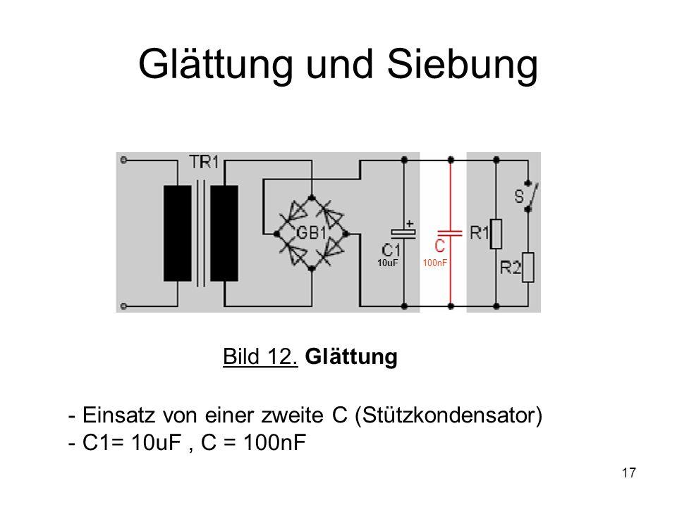 17 Glättung und Siebung Bild 12. Glättung - Einsatz von einer zweite C (Stützkondensator) - C1= 10uF, C = 100nF 10uF100nF