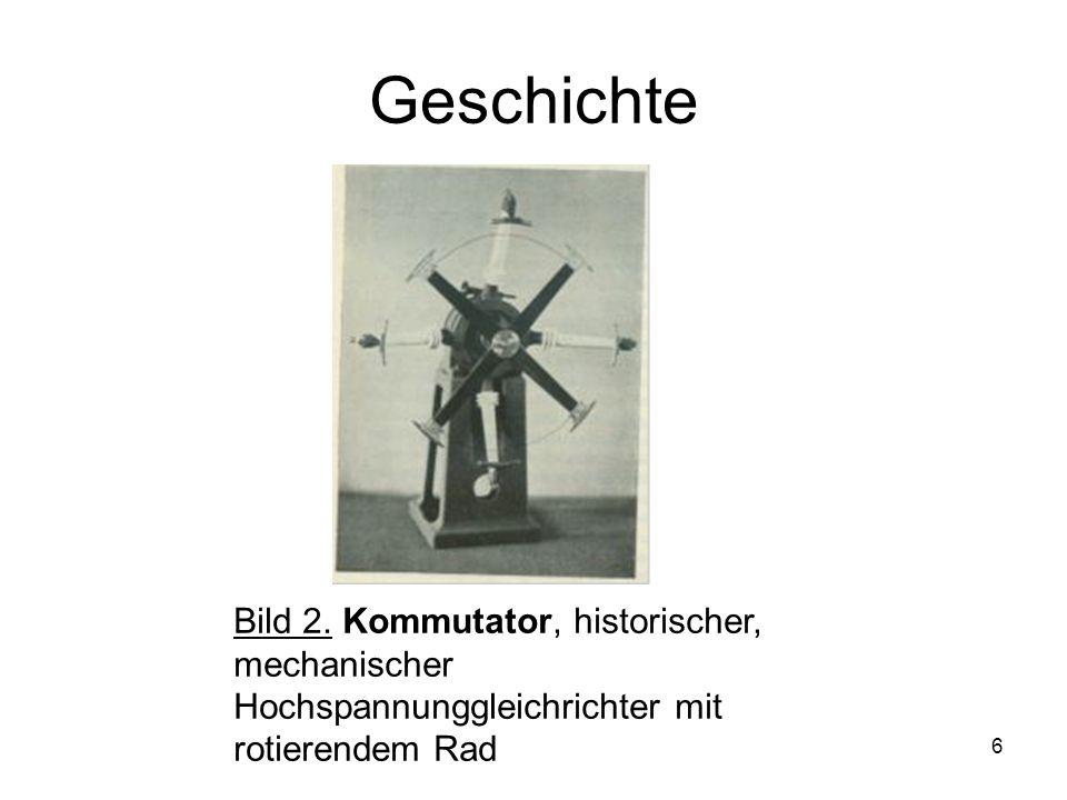 6 Geschichte Bild 2. Kommutator, historischer, mechanischer Hochspannunggleichrichter mit rotierendem Rad