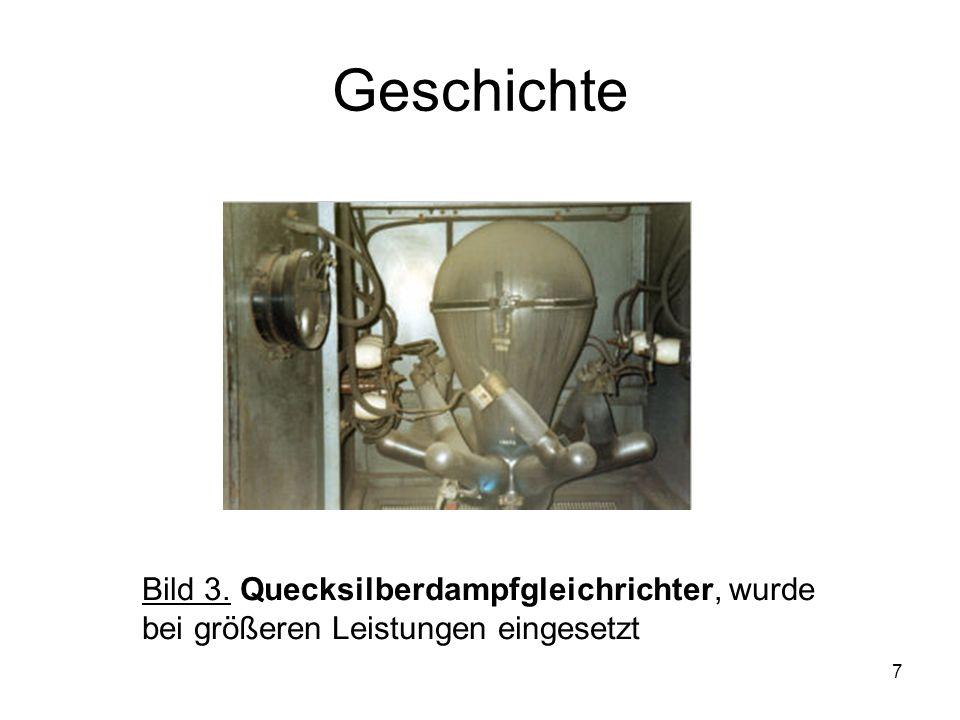7 Geschichte Bild 3. Quecksilberdampfgleichrichter, wurde bei größeren Leistungen eingesetzt