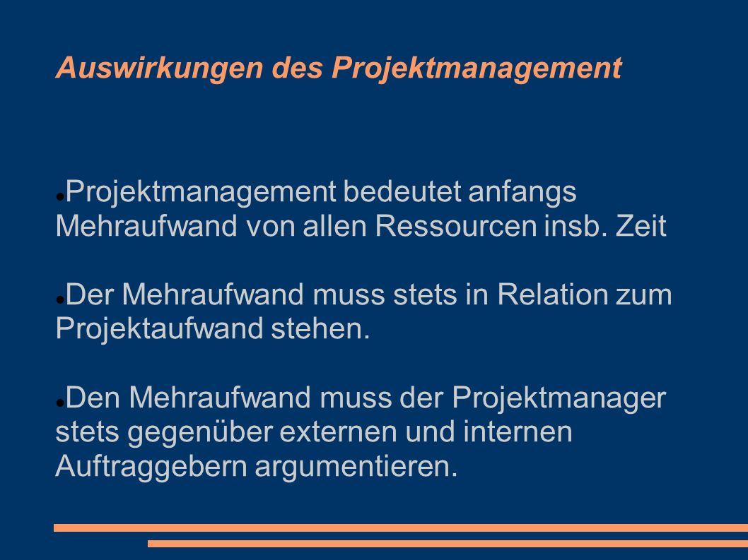 Auswirkungen des Projektmanagement Projektmanagement bedeutet anfangs Mehraufwand von allen Ressourcen insb. Zeit Der Mehraufwand muss stets in Relati