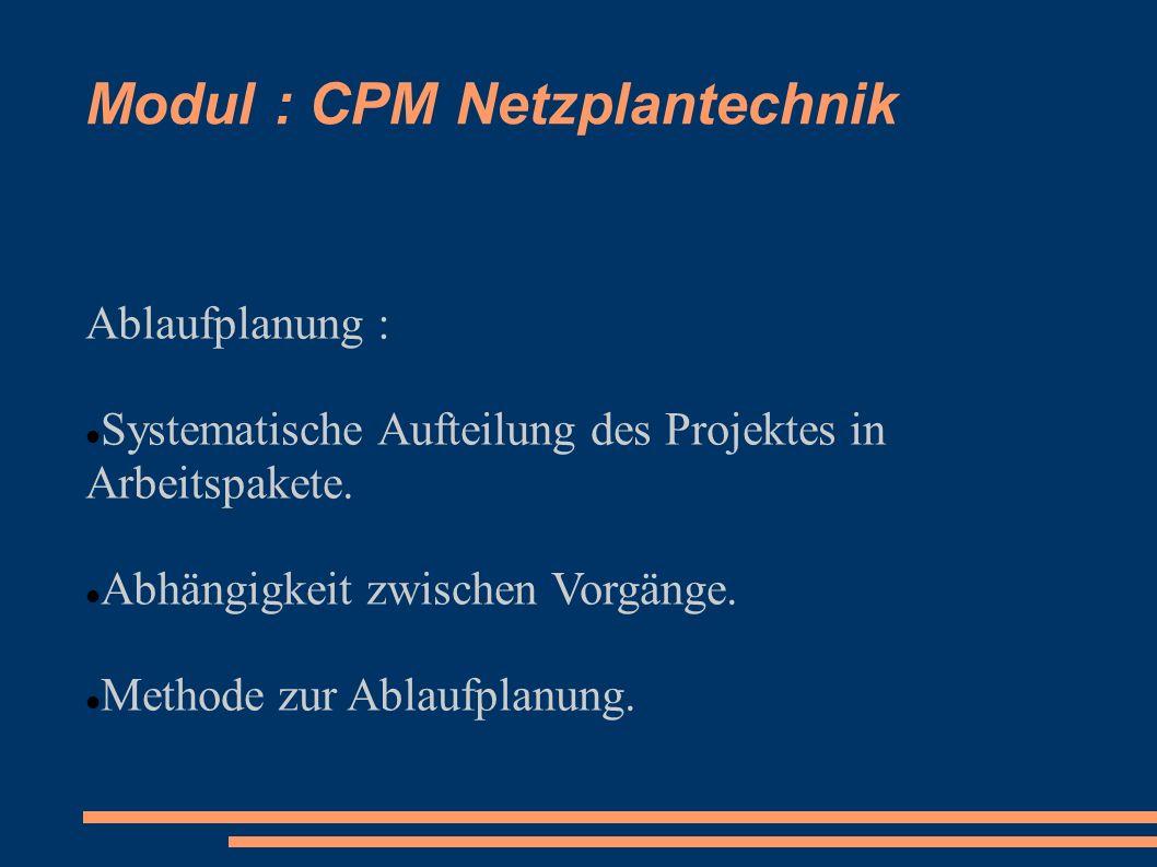 Modul : CPM Netzplantechnik Ablaufplanung : Systematische Aufteilung des Projektes in Arbeitspakete. Abhängigkeit zwischen Vorgänge. Methode zur Ablau