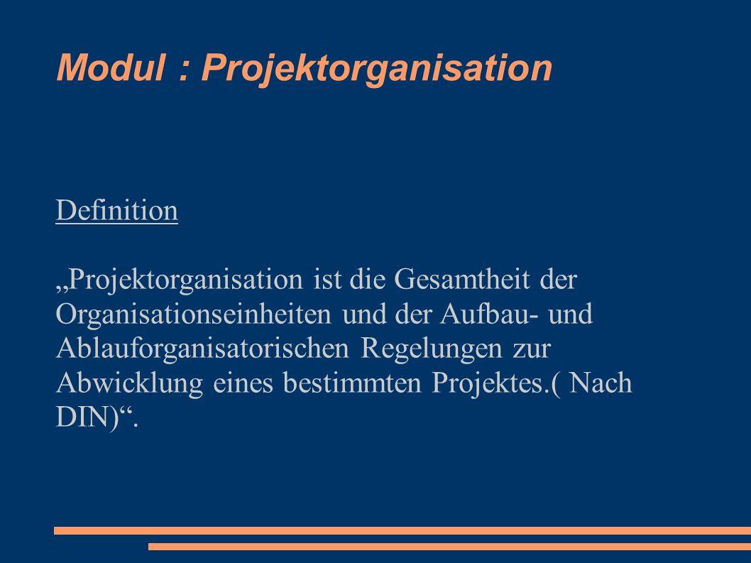 Modul : Projektorganisation Definition Projektorganisation ist die Gesamtheit der Organisationseinheiten und der Aufbau- und Ablauforganisatorischen R