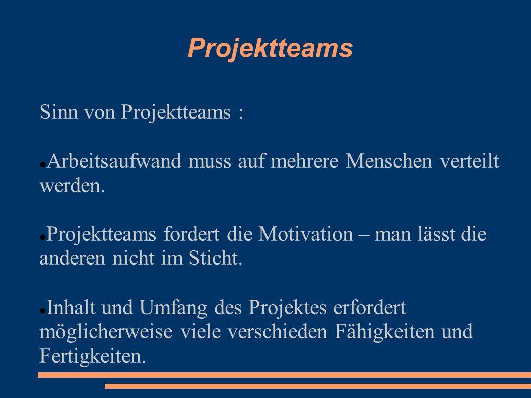 Projektteams Sinn von Projektteams : Arbeitsaufwand muss auf mehrere Menschen verteilt werden. Projektteams fordert die Motivation – man lässt die and