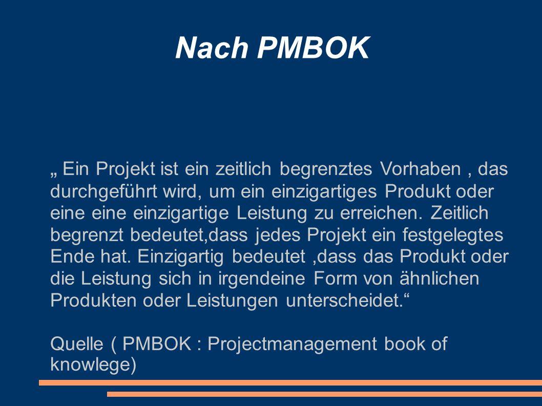 Nach PMBOK Ein Projekt ist ein zeitlich begrenztes Vorhaben, das durchgeführt wird, um ein einzigartiges Produkt oder eine eine einzigartige Leistung