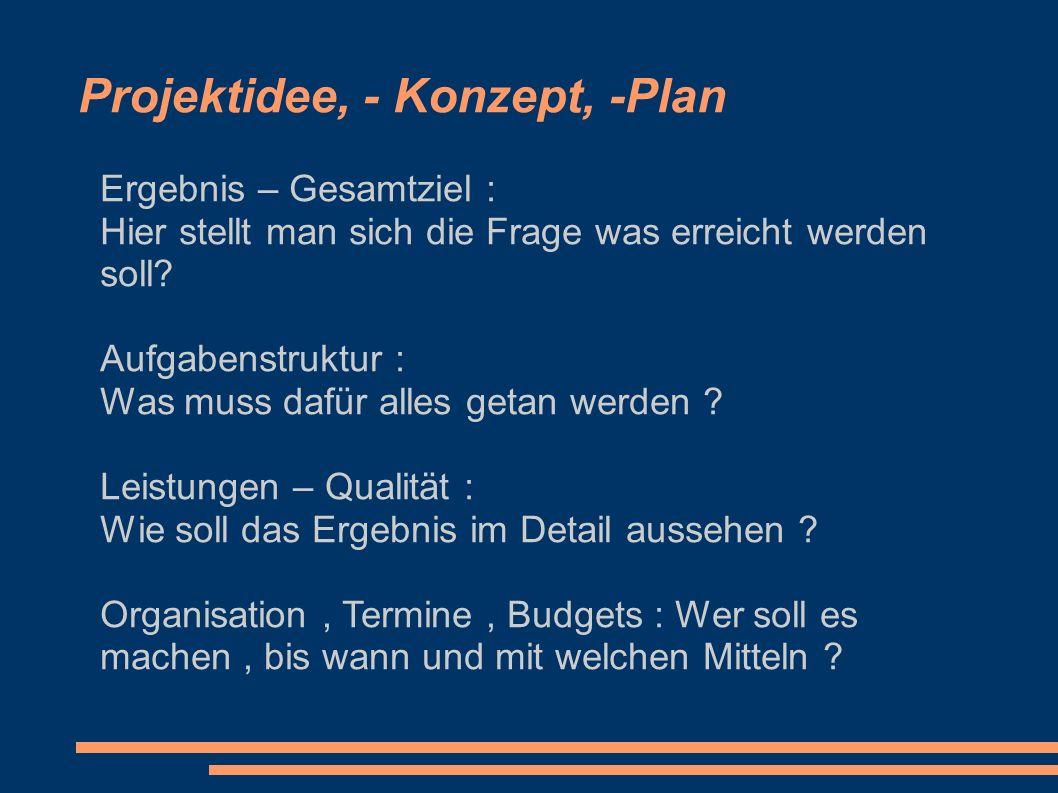 Projektidee, - Konzept, -Plan Ergebnis – Gesamtziel : Hier stellt man sich die Frage was erreicht werden soll? Aufgabenstruktur : Was muss dafür alles