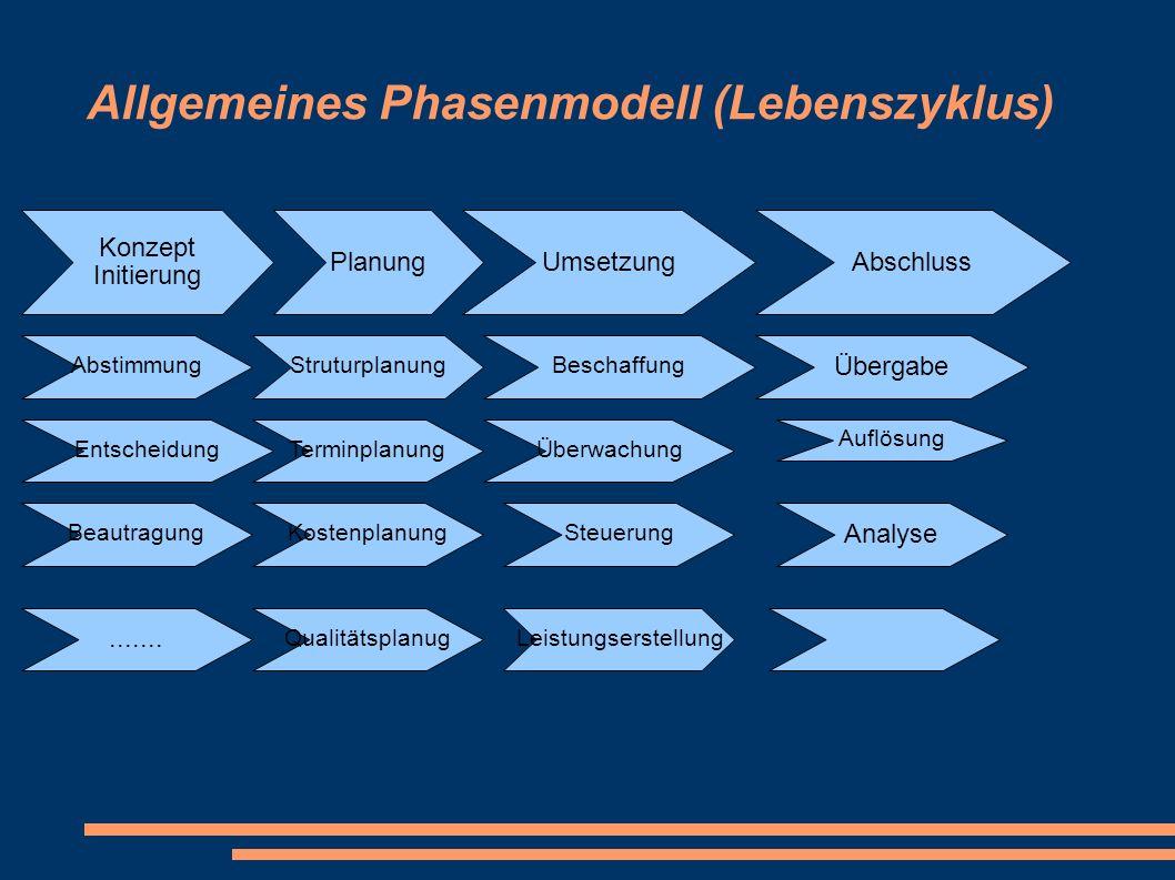 Allgemeines Phasenmodell (Lebenszyklus) Konzept Initierung PlanungUmsetzungAbschluss Abstimmung Beautragung Entscheidung....... Struturplanung Terminp