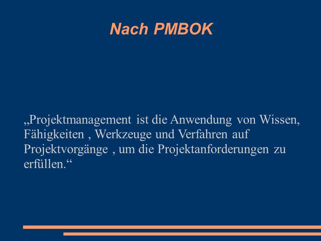 Nach PMBOK Projektmanagement ist die Anwendung von Wissen, Fähigkeiten, Werkzeuge und Verfahren auf Projektvorgänge, um die Projektanforderungen zu er