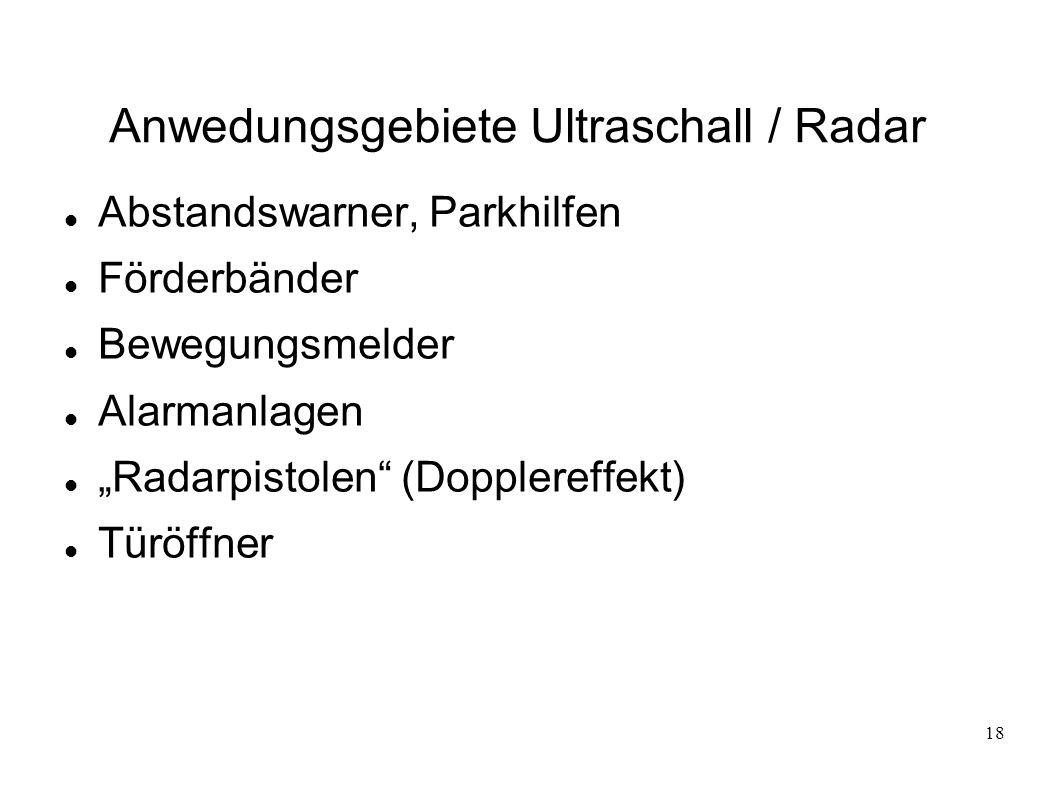 18 Anwedungsgebiete Ultraschall / Radar Abstandswarner, Parkhilfen Förderbänder Bewegungsmelder Alarmanlagen Radarpistolen (Dopplereffekt) Türöffner
