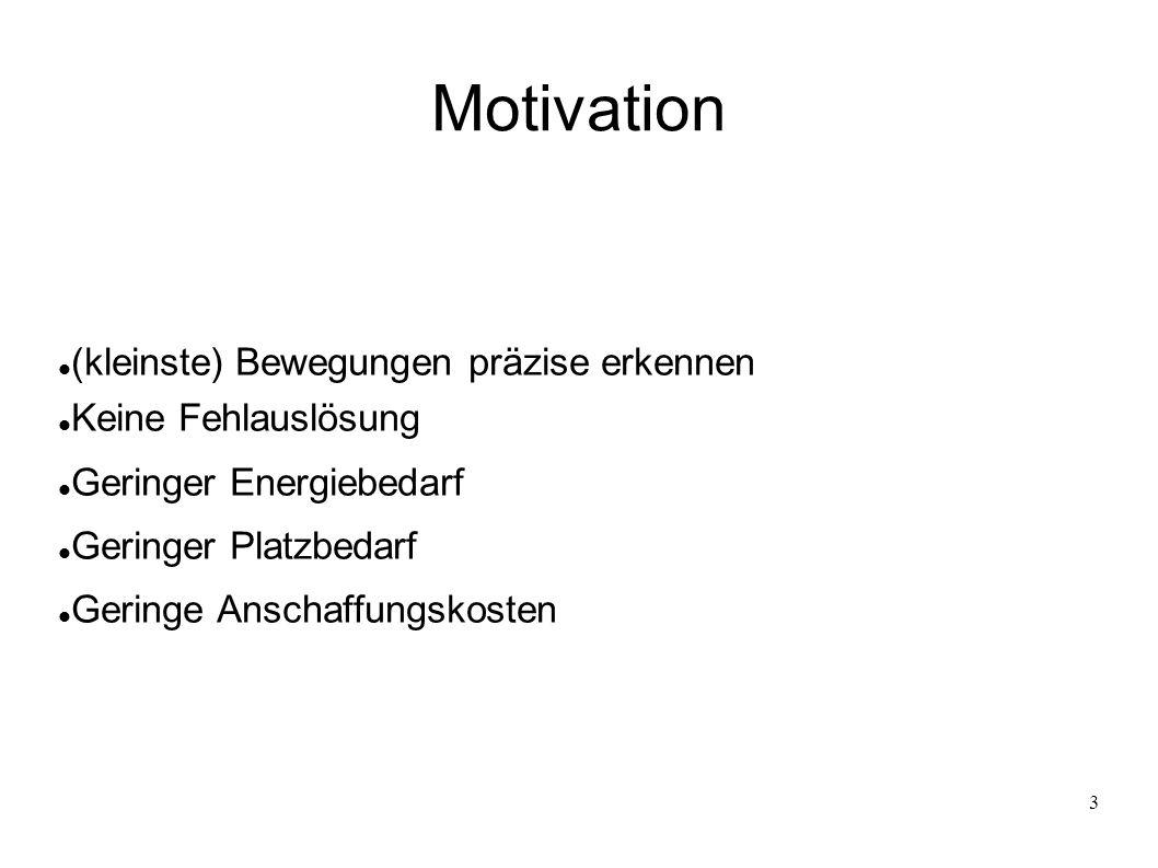 3 Motivation (kleinste) Bewegungen präzise erkennen Keine Fehlauslösung Geringer Energiebedarf Geringer Platzbedarf Geringe Anschaffungskosten