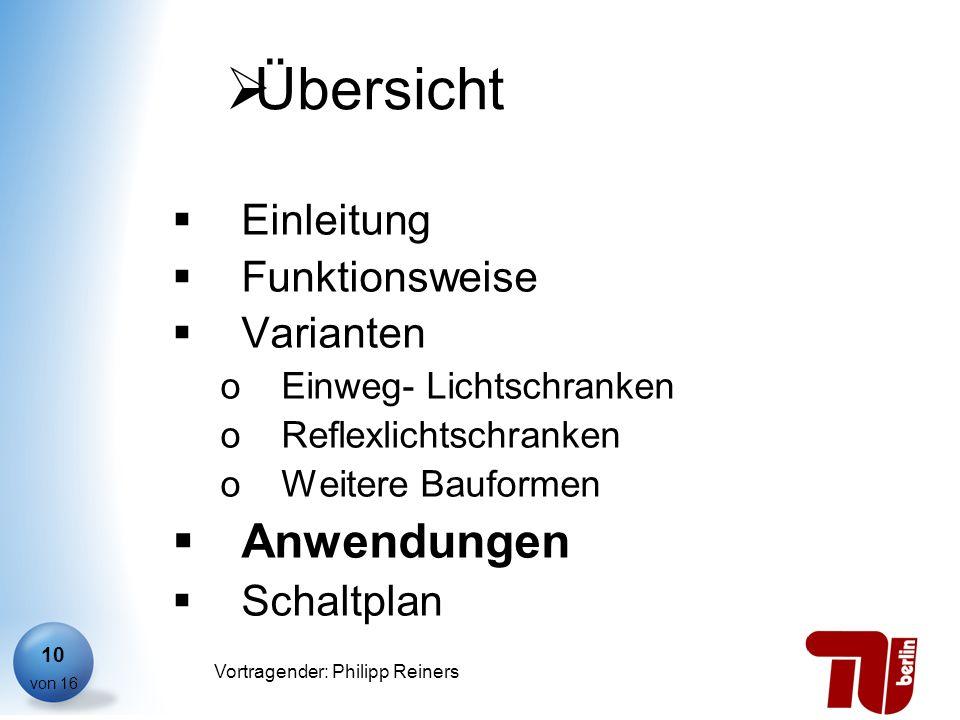 Philipp Reiners von 16 Vortragender: Philipp Reiners 10 Übersicht Einleitung Funktionsweise Varianten oEinweg- Lichtschranken oReflexlichtschranken oW