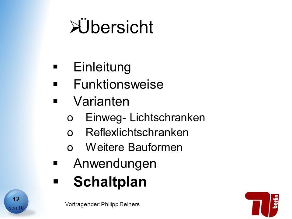 Philipp Reiners von 16 Vortragender: Philipp Reiners 12 Übersicht Einleitung Funktionsweise Varianten oEinweg- Lichtschranken oReflexlichtschranken oW