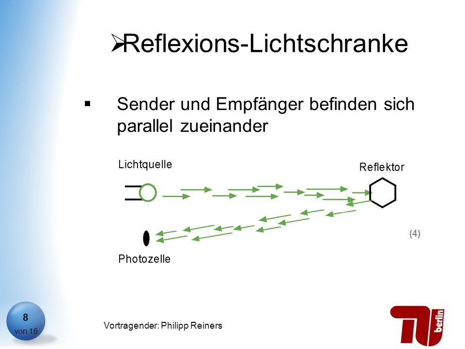 Philipp Reiners von 16 Vortragender: Philipp Reiners 8 Reflexions-Lichtschranke Sender und Empfänger befinden sich parallel zueinander (4)