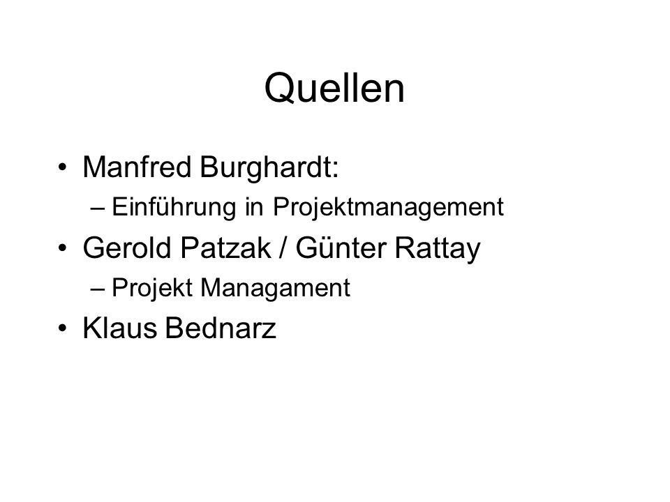 Quellen Manfred Burghardt: –Einführung in Projektmanagement Gerold Patzak / Günter Rattay –Projekt Managament Klaus Bednarz
