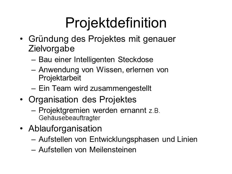 Projektdefinition Gründung des Projektes mit genauer Zielvorgabe –Bau einer Intelligenten Steckdose –Anwendung von Wissen, erlernen von Projektarbeit