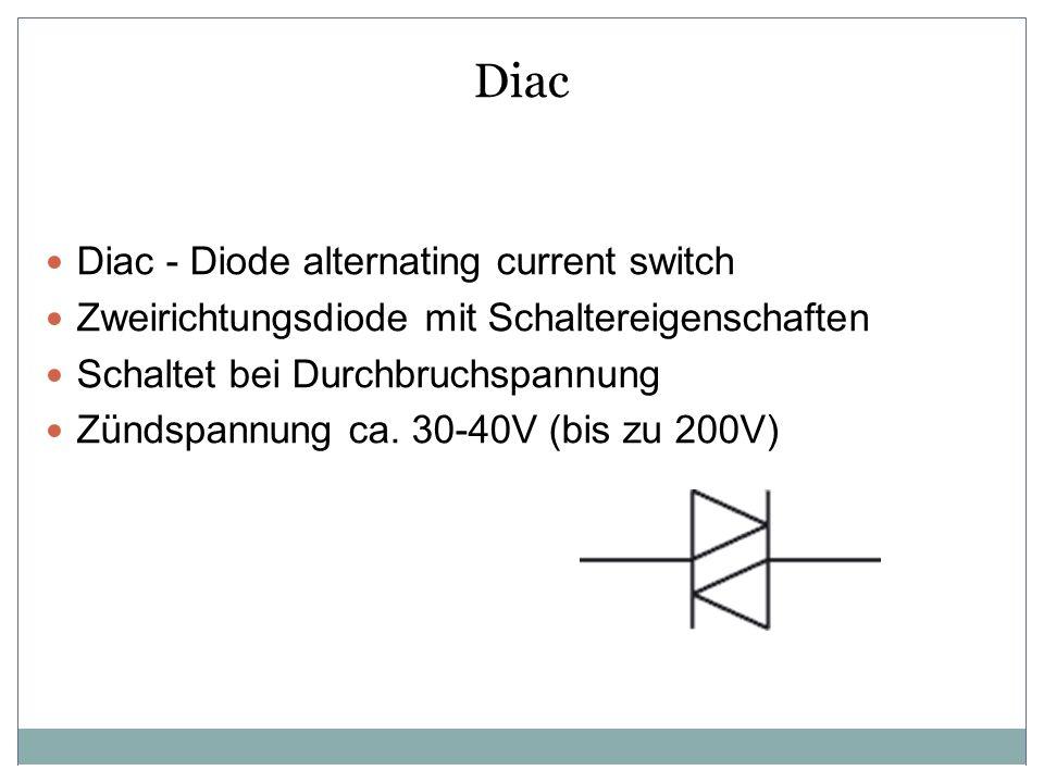 Diac Diac - Diode alternating current switch Zweirichtungsdiode mit Schaltereigenschaften Schaltet bei Durchbruchspannung Zündspannung ca. 30-40V (bis