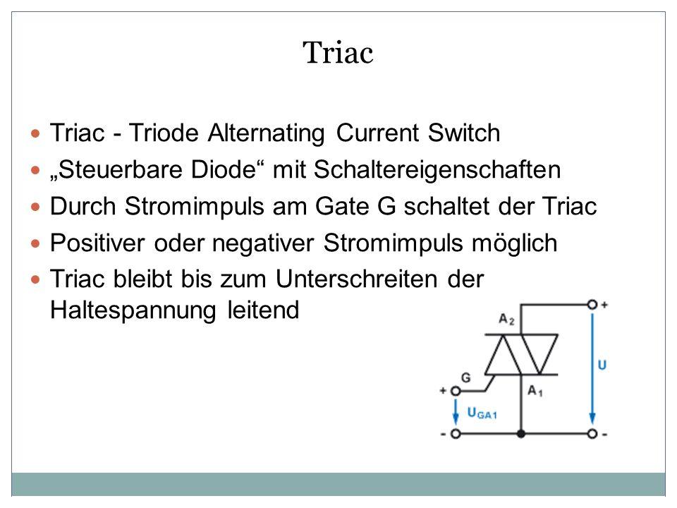 Triac Triac - Triode Alternating Current Switch Steuerbare Diode mit Schaltereigenschaften Durch Stromimpuls am Gate G schaltet der Triac Positiver od