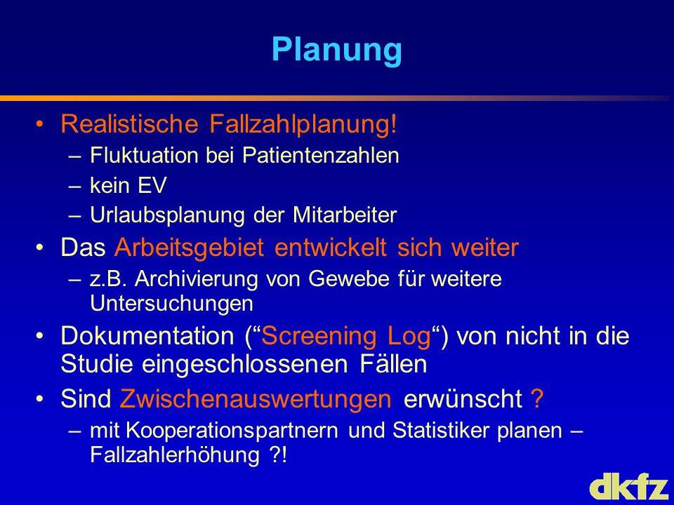 Planung Realistische Fallzahlplanung! –Fluktuation bei Patientenzahlen –kein EV –Urlaubsplanung der Mitarbeiter Das Arbeitsgebiet entwickelt sich weit
