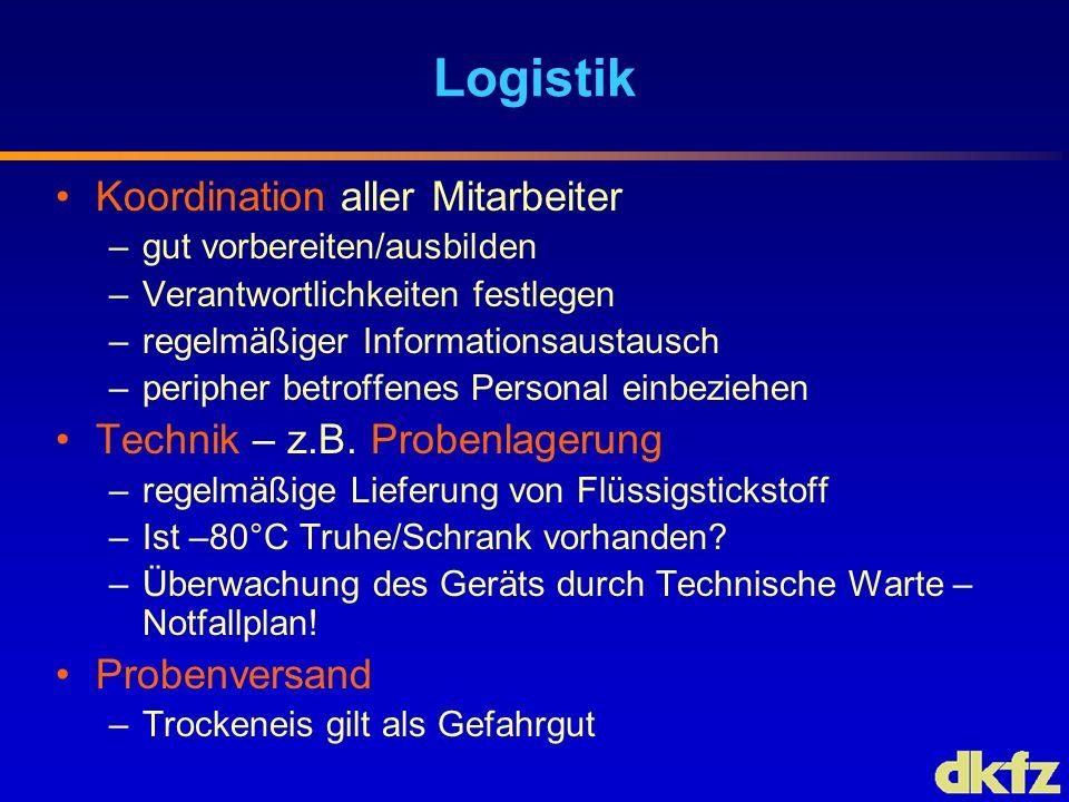Logistik Koordination aller Mitarbeiter –gut vorbereiten/ausbilden –Verantwortlichkeiten festlegen –regelmäßiger Informationsaustausch –peripher betro
