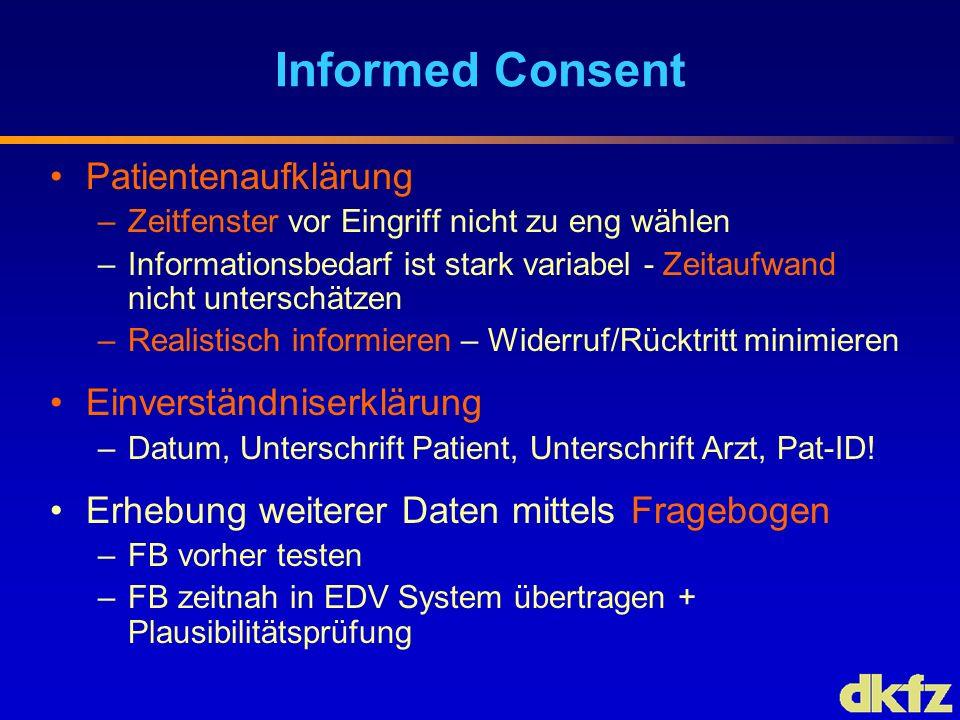 Informed Consent Patientenaufklärung –Zeitfenster vor Eingriff nicht zu eng wählen –Informationsbedarf ist stark variabel - Zeitaufwand nicht untersch