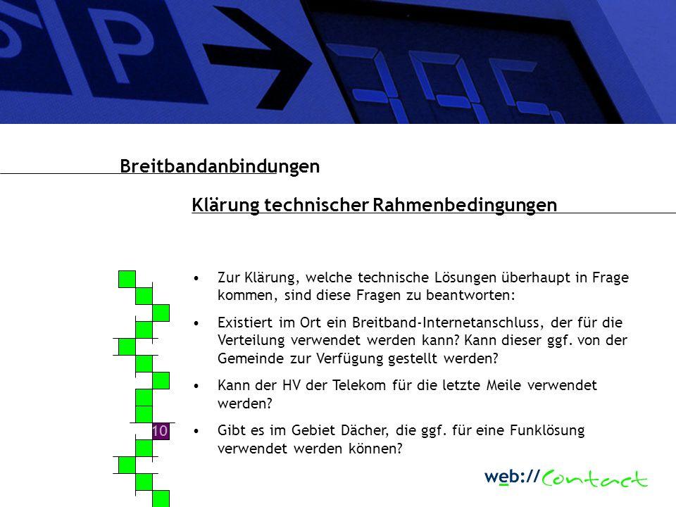 9 Durchführung einer Potentialanalyse Breitbandanbindungen Idealerweise wird eine Potentialanalyse über die kommunale Internetseite durchgeführt.