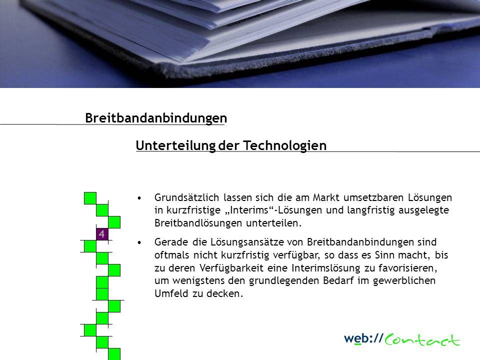 4 Unterteilung der Technologien Grundsätzlich lassen sich die am Markt umsetzbaren Lösungen in kurzfristige Interims-Lösungen und langfristig ausgelegte Breitbandlösungen unterteilen.