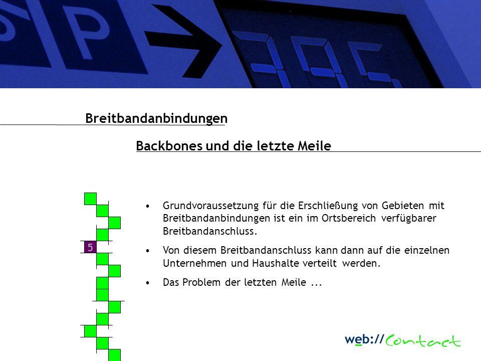 5 Grundvoraussetzung für die Erschließung von Gebieten mit Breitbandanbindungen ist ein im Ortsbereich verfügbarer Breitbandanschluss.