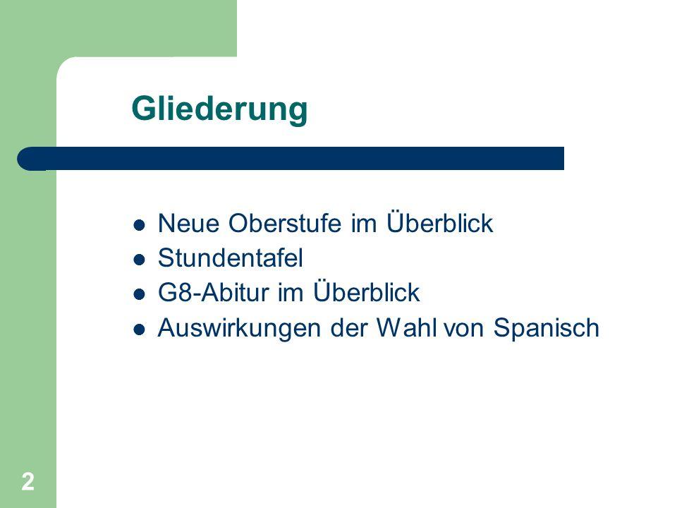 2 Gliederung Neue Oberstufe im Überblick Stundentafel G8-Abitur im Überblick Auswirkungen der Wahl von Spanisch
