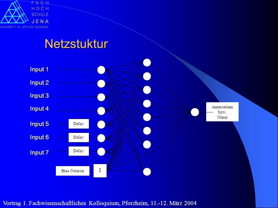 Netzstuktur Delay Ammonium bzw. Nitrat 1 Bias-Neuron Input 1 Input 2 Input 3 Input 4 Input 5 Input 6 Input 7
