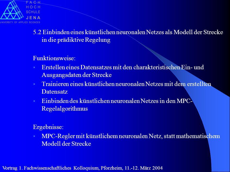 5.2 Einbinden eines künstlichen neuronalen Netzes als Modell der Strecke in die prädiktive Regelung Funktionsweise: Erstellen eines Datensatzes mit de
