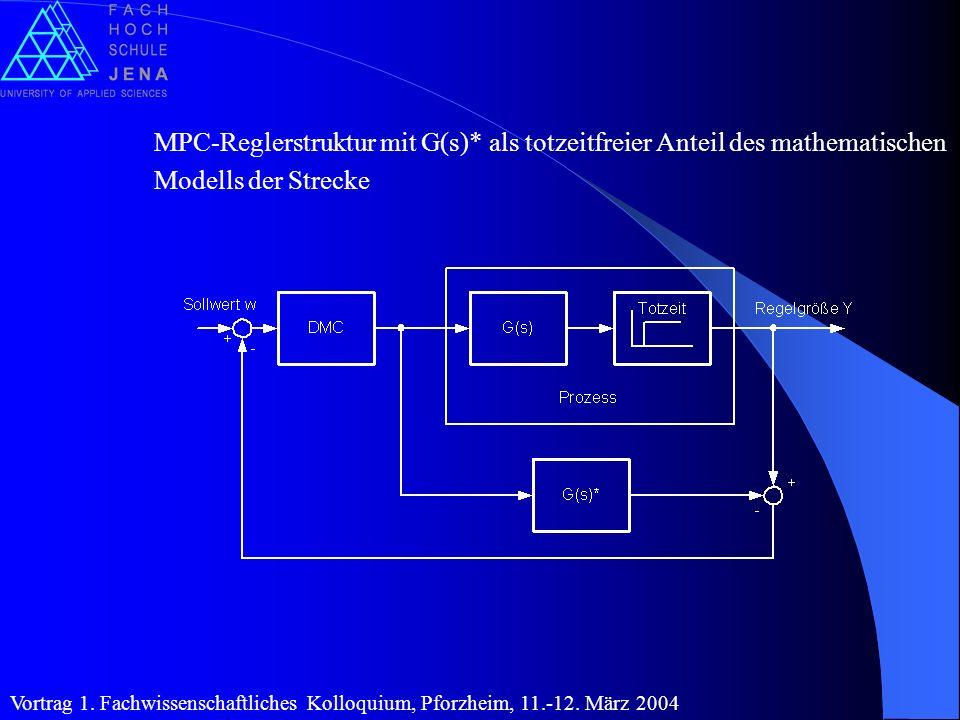 MPC-Reglerstruktur mit G(s)* als totzeitfreier Anteil des mathematischen Modells der Strecke Vortrag 1. Fachwissenschaftliches Kolloquium, Pforzheim,