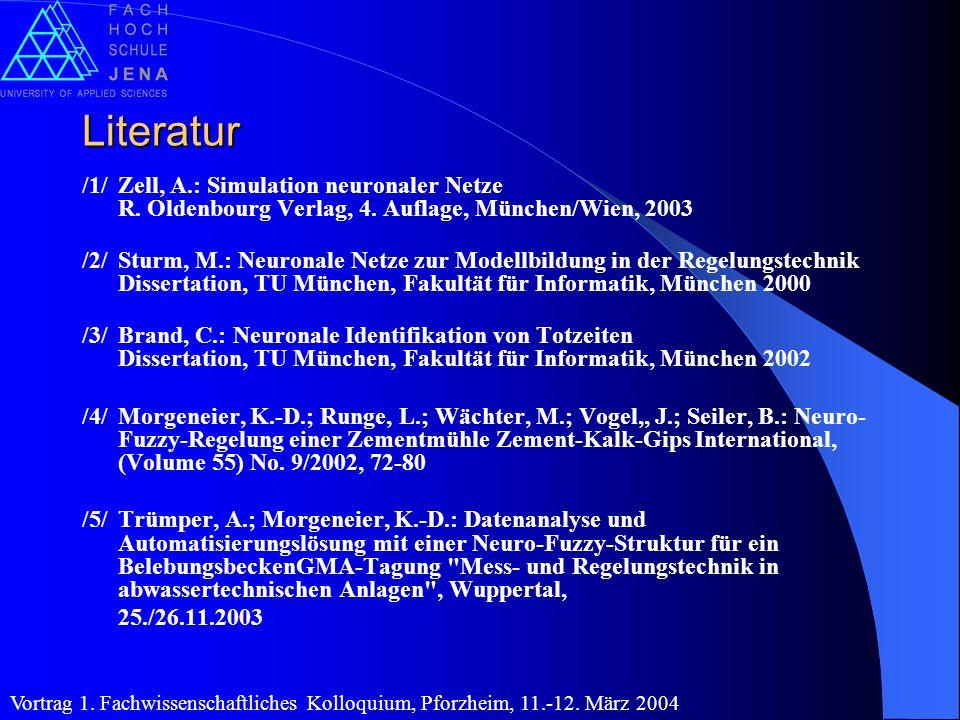 Literatur /1/Zell, A.: Simulation neuronaler Netze R. Oldenbourg Verlag, 4. Auflage, München/Wien, 2003 /2/Sturm, M.: Neuronale Netze zur Modellbildun