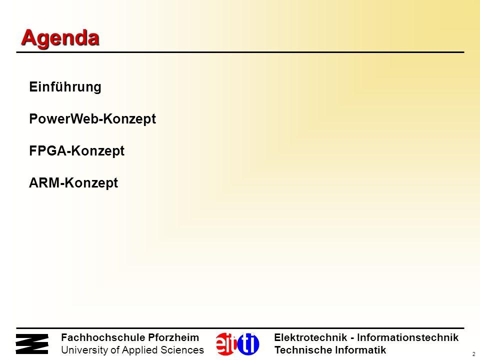 2 Fachhochschule Pforzheim Elektrotechnik - Informationstechnik University of Applied Sciences Technische Informatik Agenda Einführung PowerWeb-Konzep