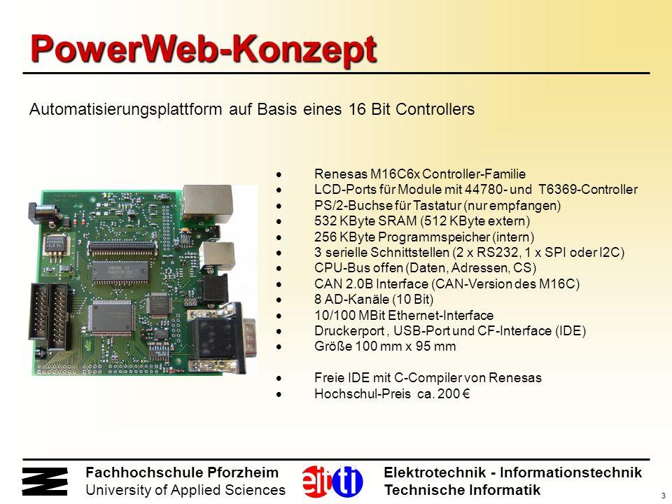 3 Fachhochschule Pforzheim Elektrotechnik - Informationstechnik University of Applied Sciences Technische Informatik PowerWeb-Konzept Renesas M16C6x C