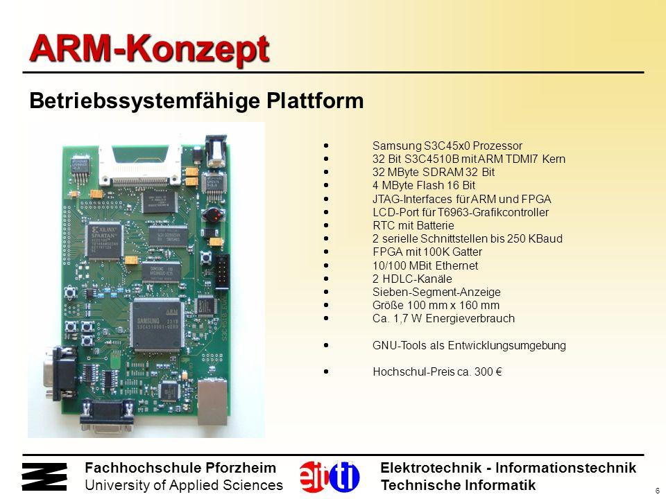 6 Fachhochschule Pforzheim Elektrotechnik - Informationstechnik University of Applied Sciences Technische Informatik ARM-Konzept Betriebssystemfähige